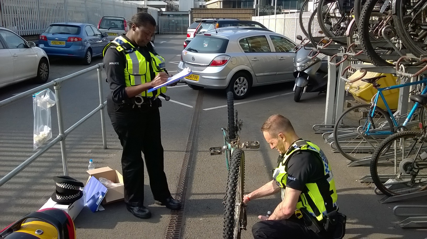 Police marking a bicycle in South London