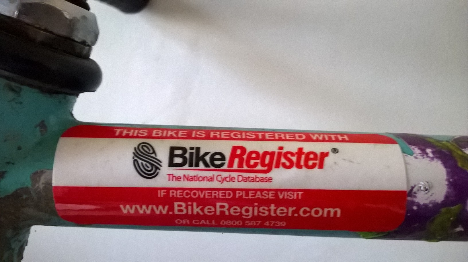 Deterrent Sticker Warning Bike is Registered