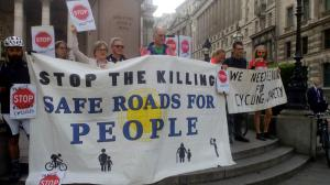 Stop Killing Cyclists campaign group on the steps of the Royal Exchange