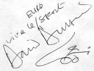 David Duffield Autograph