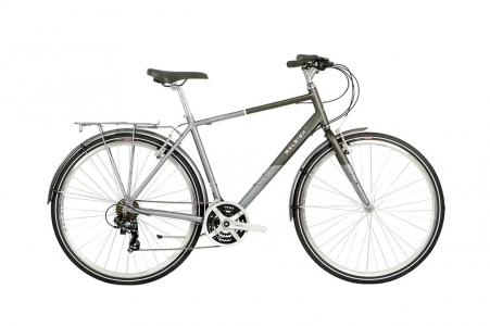 2021 Raleigh Pioneer Crossbar Hybrid Bike in Black and Silver